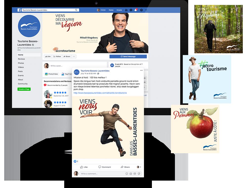 Examples de médias sociaux pour la campagne juste à côté